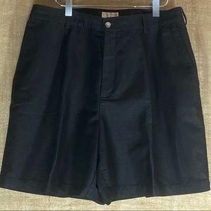 ELIZABETH pleated black linen shorts 18 Petite